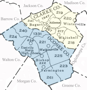 Map of Clarke and Oconee Militia Districts (Georgia)